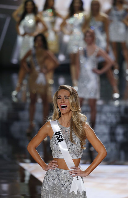 Mis USA Olivia Jordan reacts after she makes the final 15 at the Miss Universe pageant Sunday, December 20, 2015, in Las Vegas. (Photo by John Locher/AP Photo)