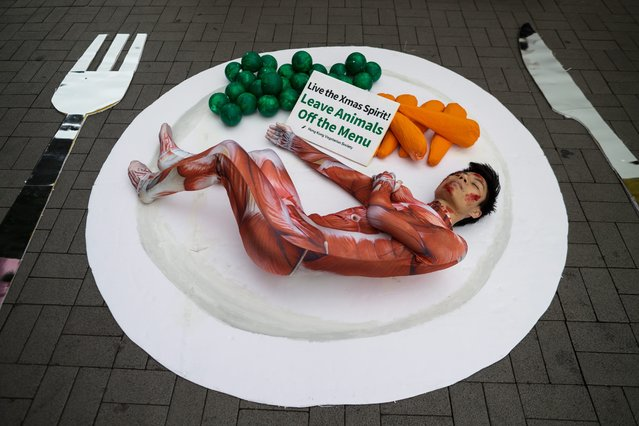 A Hong Kong Vegetarian Society activists lies on a giant plate alongside oversized peas, carrots and cutlery during a protest rally in the tourist district of Tsim Sha Tsui, Hong Kong, China, 23 December 2015. The activists urged passers-by to extend the holiday spirit to animals and to give thoughts to the cruelty inflicted on animals in meat productions. (Photo by Jerome Favre/EPA)