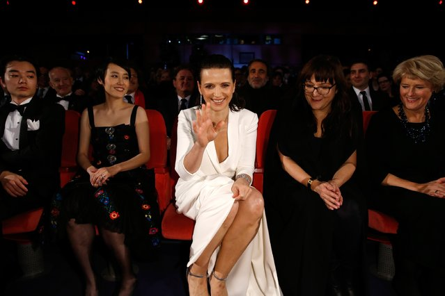 Rinko Kikuchi, Juliette Binoche and Isabel Coixet attend the opening ceremony at the 65th Berlinale International Film Festival at Berlinale Palace on February 5, 2015 in Berlin, Germany. (Photo by Andreas Rentz/Getty Images)