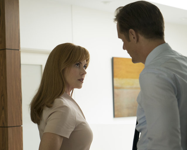 "This image released by HBO shows Nicole Kidman, left, and Alexander Skarsgard in ""Big Little Lies"". Nominations for the 75th annual Golden Globes will be announced on Monday, December 11, 2017. (Photo by Hilary Bronwyn Gayle/HBO via AP Photo)"