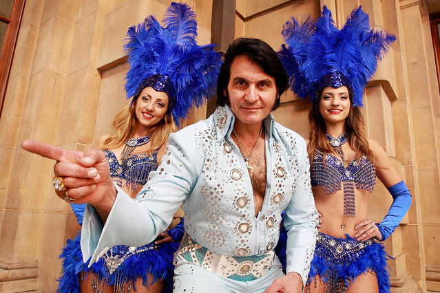 Elvis tribute artist Ross Mancini poses with dancers Pearl Sanber and Demi Nicolaou at Central Station ahead of boarding the 'Elvis Express' on January 7, 2016 in Sydney, Australia. (Photo by Lisa Maree Williams/Getty Images)