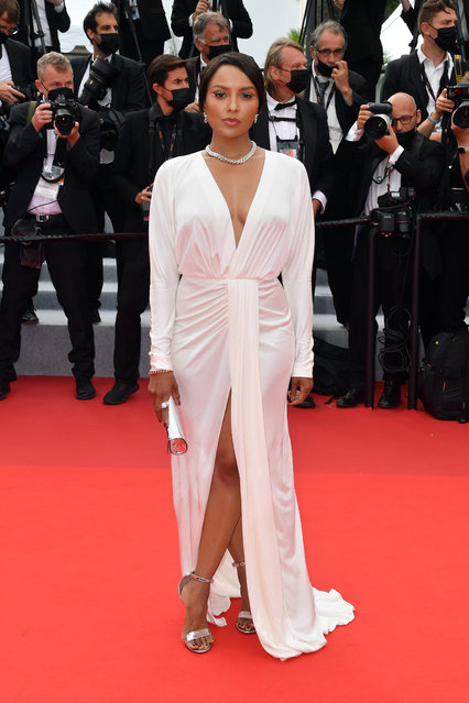 """American actress Kat Graham attends the """"The French Dispatch"""" screening during the 74th annual Cannes Film Festival on July 12, 2021 in Cannes, France. (Photo by Stephane Cardinale – Corbis/Corbis via Getty Images)"""