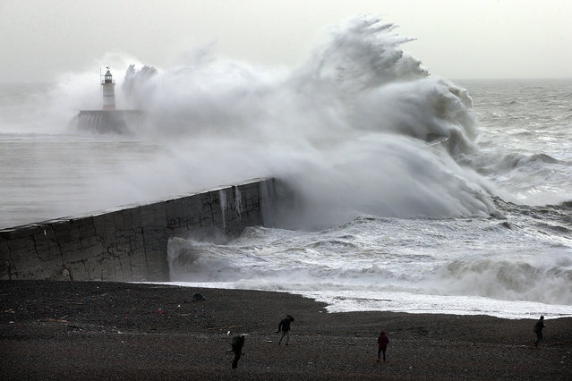 Waves hit a harbour wall on February 8, 2016 in Newhaven, East Sussex, UK on February 8, 2016. Storm Imogen is the ninth named storm to hit the UK this season. This year's storms are being named in an effort by the Met Office and Met Eireann to increase public awareness and safety. They were named by public ballot and there are no names for the letters Q, U, X, Y and Z. (Photo by Carl Court/Getty Images)