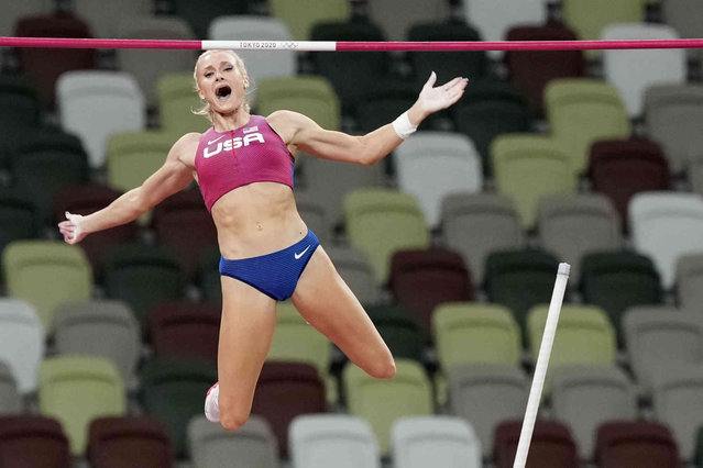 Katie Nageotte, of the United States, competes in the finals of the women's pole vault at the 2020 Summer Olympics, Thursday, August 5, 2021, in Tokyo. (Photo by Martin Meissner/AP Photo)