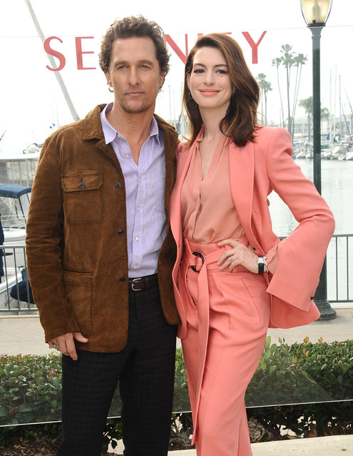 """Matthew McConaughey and Anne Hathaway attend the Aviron Pictures """"Serenity"""" photo call at the Ritz Carlton Hotel on January 11, 2019 in Marina del Rey, California. (Photo by Sara De Boer/Startraksphoto.com)"""