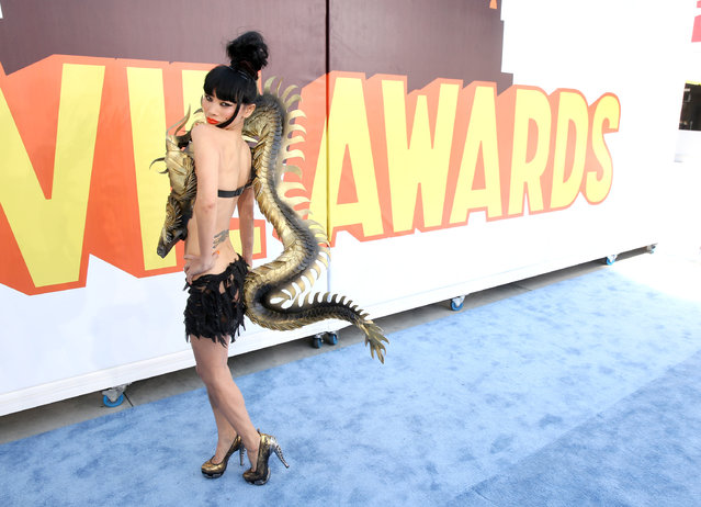 Bai Ling arrives at the MTV Movie Awards at the Nokia Theatre on Sunday, April 12, 2015, in Los Angeles. (Photo by Matt Sayles/Invision/AP Photo)