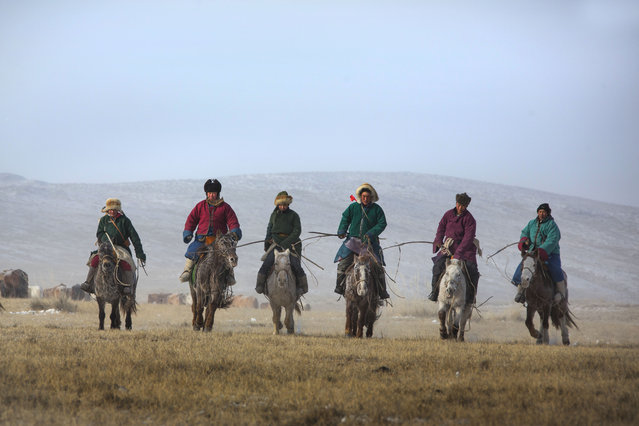 These horses are pictured in the Khentii province in eastern Mongolia during the Winter Horse Festival – where skillful horsemen gather to challenge the strength of their horses and show off their riding skills. Pictures were taken by Batzaya Choijiljav, a travel company director from Mongolia. Here: Mongolian Horsemen with their horses. (Photo by Batzaya Choijiljav/Caters News)