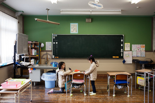 Students in Aone's elementary school during break in between the class on April 9, 2015. The school has only six students, two of whom are from the same family. Similarly small schools can be found throughout Japan. (Photo by Ko Sasaki/The Washington Post)