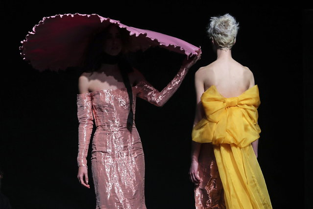 Models display creations by Portuguese designer David Ferreira on the second day of the Lisbon Fashion Week, at the Carlos Lopes Pavillion in Lisbon, Portugal, 09 March 2019. (Photo by Miguel A. Lopes/EPA/EFE)