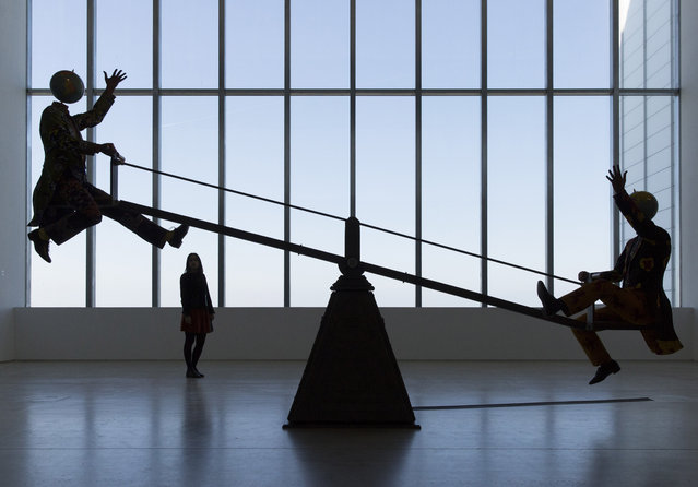 A general view of the new work End of Empire by artist Yinka Shonibare MBE on display at the Turner Contemporary as part of the 14-18 NOW programme. The work is on display until 30 October. at Turner Contemporary on March 22, 2016 in Margate, England. (Photo by John Phillips/Getty Images for 14-18 NOW)