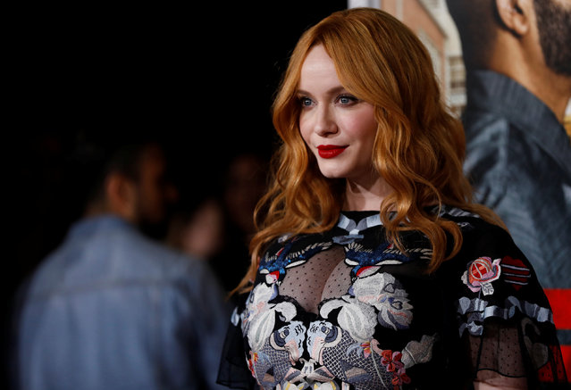 "Cast member Christina Hendricks poses at the premiere of the movie ""Fist Fight"" in Los Angeles, California U.S., February 13, 2017. (Photo by Mario Anzuoni/Reuters)"