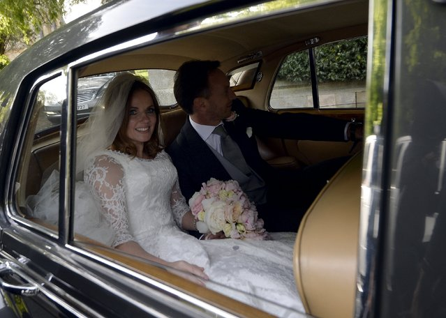 British singer and former member of the band Spice Girls, Geri Halliwell, leaves with her husband, Christian Horner, Red Bull Formula One team principal, following their wedding at St. Mary's Church at Woburn in southern England May 15, 2015. (Photo by Toby Melville/Reuters)