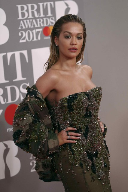 Singer Rita Ora arrives for the Brit Awards at the O2 Arena in London, Britain, February 22, 2017. (Photo by Neil Hall/Reuters)