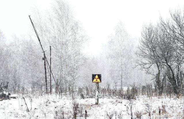 A radiation sign is seen in the 30 km (19 miles) exclusion zone around the Chernobyl nuclear reactor in the abandoned village of Dronki, Belarus, February 11, 2016. (Photo by Vasily Fedosenko/Reuters)