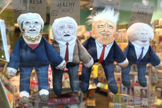Humorous puppets of politicians are seen on sale at the London shop – Theresa May (UK Prime Minister), Jeremy Corbyn (Leader of UK Labour Party) Donald Trump (US President) and Boris Johnson (former UK Foreign Secretary and Pro Brexiteer). (Photo by Keith Mayhew/SOPA Images/LightRocket via Getty Images)