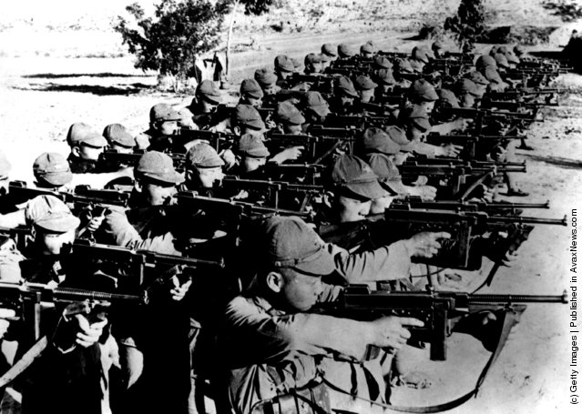 1937: Chinese Communist troops training with American Thompson sub-machine guns, during the Sino-Japanese war