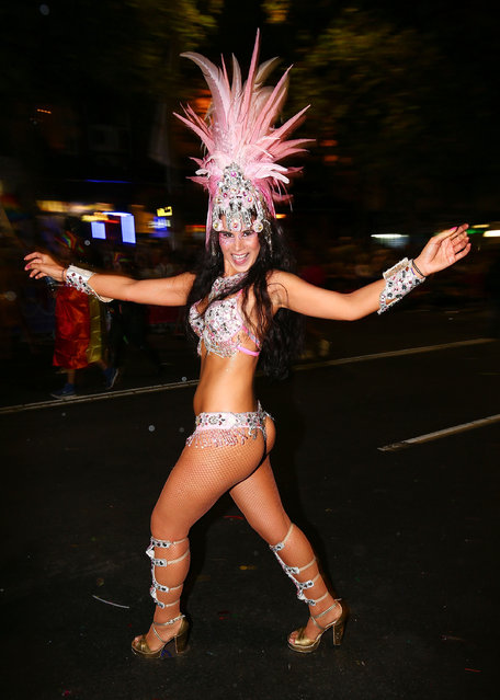 Parade goers dance during the 2017 Sydney Gay & Lesbian Mardi Gras Parade on March 4, 2017 in Sydney, Australia. The Sydney Mardi Gras parade began in 1978 as a march and commemoration of the 1969 Stonewall Riots of New York. It is an annual event promoting awareness of gay, lesbian, bisexual and transgender issues and themes. (Photo by Brendon Thorne/Getty Images)