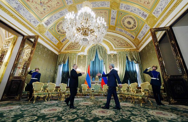 Russian President Vladimir Putin (center L) meets with his Armenian counterpart Serzh Sarkisian at the Kremlin in Moscow on March 15, 2017. (Photo by Sergei Chirikov/AFP Photo)