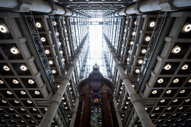 """The interior of Lloyd's of London, the centuries-old insurance market, is pitctured in central London on April 27, 2016. Lloyd's argued on March 23, 2016, that Britain's continued EU membership would be the """"better outcome"""" for the group in the looming June referendum. Lloyd's, which made the comments in its annual report alongside news of tumbling 2015 profits, added that it was making contingency plans for a so-called Brexit. (Photo by Leon Neal/AFP Photo)"""