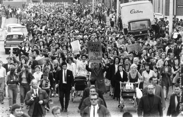 1970:  Civil rights marchers in Belfast demonstrating against British policy in Northern Ireland