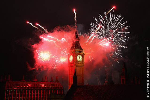 Fireworks light up the London skyline and Big Ben just after midnight on January 1, 2012 in London, England