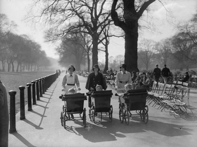 Nannies push prams in Hyde Park, London alongside Rotten Row, 1936. (Photo by General Photographic Agency/Getty Images)