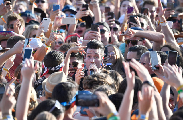 Dan Smith of Bastille performs at the Outdoor Stage during day 2 of the Coachella Valley Music And Arts Festival (Weekend 1) at the Empire Polo Club on April 15, 2017 in Indio, California. (Photo by Frazer Harrison/Getty Images for Coachella)