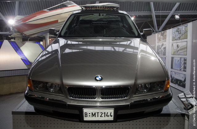 A BMW750iL that was used in the 1997 James Bond film Tomorrow Never Dies and a Tuk-Tuk taxi that was used in Octopussy and are currently being displayed at the Bond In Motion exhibition