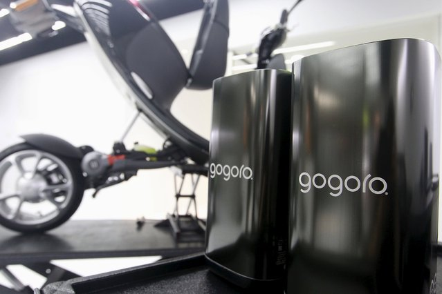 Batteries (R) used on Gogoro Smartscooters are placed in its shop in Taipei, Taiwan, July 6, 2015. (Photo by Pichi Chuang/Reuters)