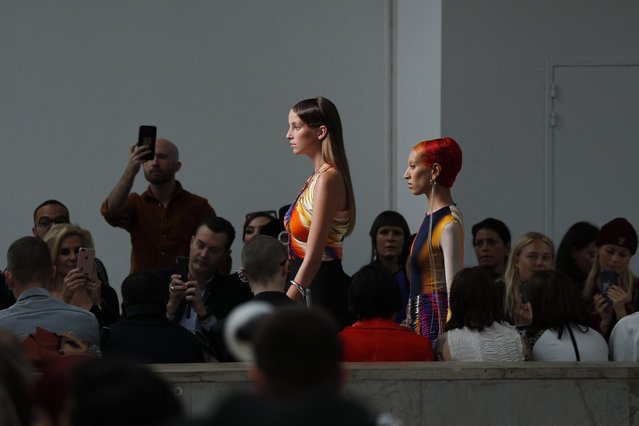 Models wear creations as part of the Mugler Ready To Wear Spring-Summer 2020 collection, unveiled during the fashion week, in Paris, Wednesday, September 25, 2019. (Photo by Francois Mori/AP Photo)