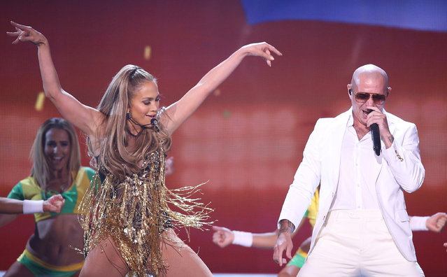 Jennifer Lopez and Pitbull perform onstage during the 2014 Billboard Music Awards held at MGM Grand Garden Arena on May 18, 2014 in Las Vegas, Nevada.  (Photo by Michael Tran/FilmMagic)