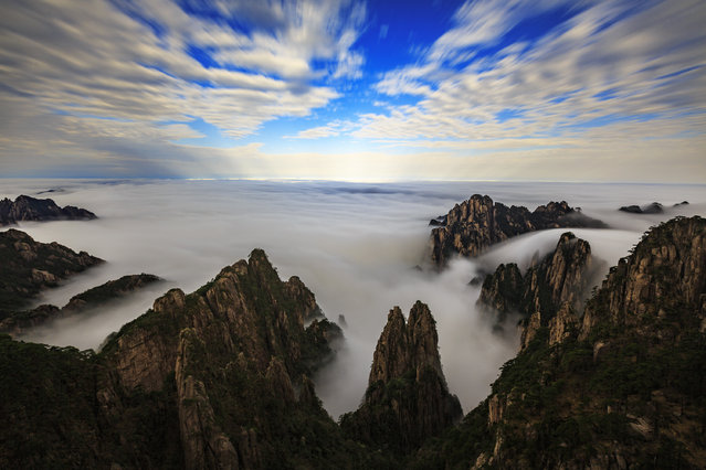Sea of clouds is seen after a rainfall at the Huangshan Mountain scenic spot on April 10, 2019 in Huangshan, Anhui Province of China. (Photo by Fang Lihua/Qianlong.com/VCG via Getty Images)