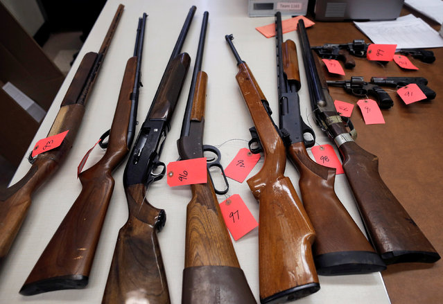 "Some of the firearms turned in from the public as part of the ""Gun Turn-in"" event where a gift card is given for every firearm handed over to the Chicago Police are seen in Chicago, Illinois, U.S. May 28, 2016. (Photo by Jim Young/Reuters)"
