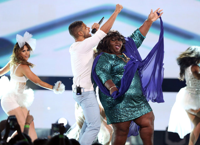 "Jussie Smollett, left, and Gabourey Sidibe of the ""Empire"" cast perform at the Teen Choice Awards at the Galen Center on Sunday, August 16, 2015, in Los Angeles. (Photo by Matt Sayles/Invision/AP Photo)"
