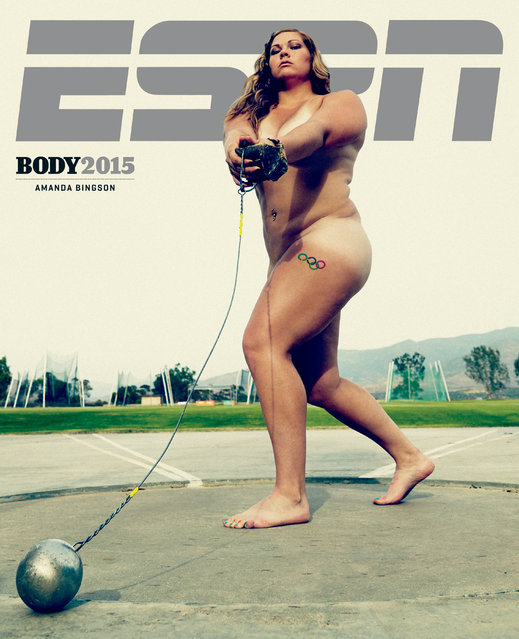 Amanda Bingson photographed  in ESPN's The Body Issue 2015. ESPN The Magazine's The Body Issue set out seven years ago with one mission: to celebrate and explore the athletic form through powerful images and interviews. The cornerstone of each annual issue is The Bodies We Want photo portfolio, which features roughly 20 of the world's most elite athletes posing nude. (Photo by Peter Hapak for ESPN The Magazine)