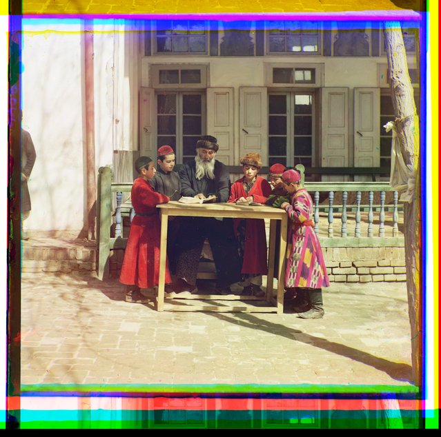 Photos by Sergey Prokudin-Gorsky. Group of Jewish children with a teacher. Samarkand. Russia, Samarkand region, 1911