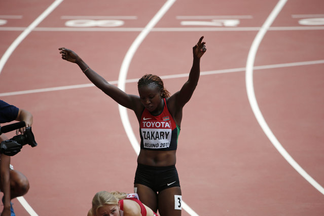 Joyce Zakary of Kenya gestures after her women's 400 metres heat at the 15th IAAF World Championships at the National Stadium in Beijing, China August 24, 2015. Zakary and compatriot Koki Manunga have been handed provisional bans after testing positive for the use of banned substances at the world championships, the International Association of Athletics Federations said on August 26, 2015. Picture taken August 24, 2015. (Photo by David Gray/Reuters)