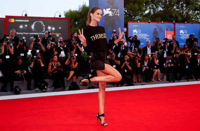 """Model Isabeli Fontana poses during a red carpet event for the movie """"The shape of water"""" at the 74th Venice Film Festival in Venice, Italy on August 31, 2017. (Photo by Alessandro Bianchi/Reuters)"""