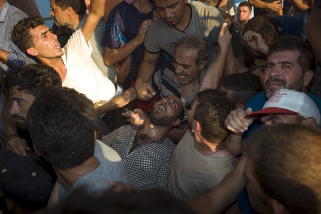 A migrant (C) collapses as migrants line up for a registration procedure at the port of Mytilene on the Greek island of Lesbos, September 3, 2015. (Photo by Dimitris Michalakis/Reuters)