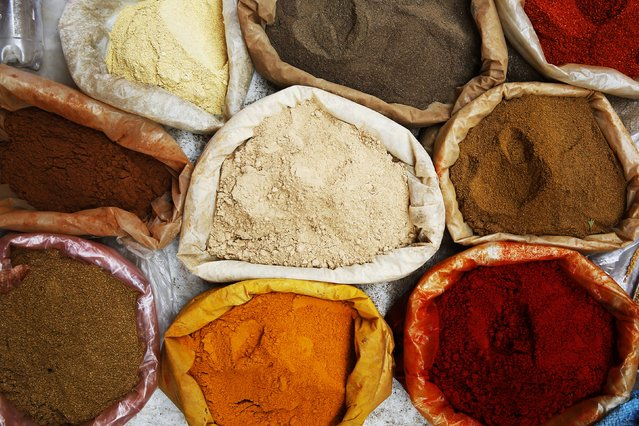 Colour pigments are offered for sale in Medina, Rabat's old city September 24, 2014. (Photo by Damir Sagolj/Reuters)