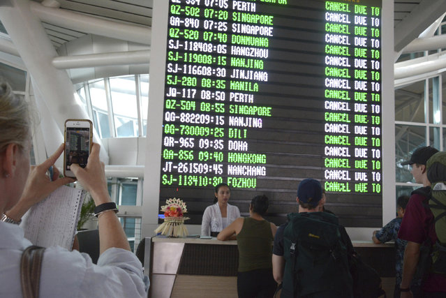 A flight information board shows cancelled flights at Ngurah Rai International Airport in Bali, Indonesia, Tuesday, November 28, 2017. Indonesia's disaster mitigation agency says the airport on the tourist island of Bali is closed for a second day due to the threat from volcanic ash. (Photo by Ketut Nataan/AP Photo)