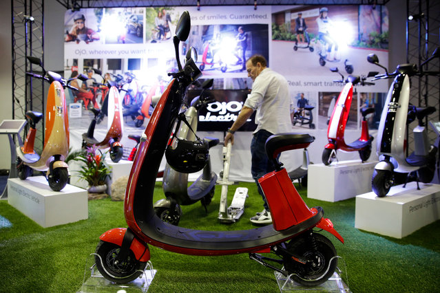 OjO electric smart scooters are on display at CES International, Tuesday, January 9, 2018, in Las Vegas. (Photo by Jae C. Hong/AP Photo)