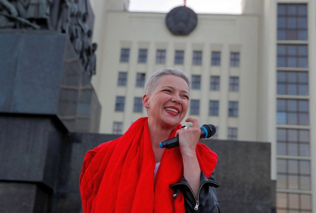Belarusian opposition politician Maria Kolesnikova attends an opposition demonstration against presidential election results at the Independence Square in Minsk, Belarus on August 22, 2020. (Photo by Vasily Fedosenko/Reuters)