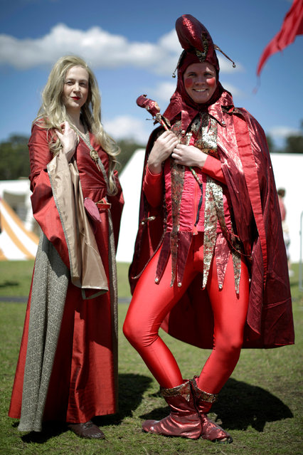 Jamie Oberg (R) clowns for the camera as a court jester alongside his partner Holly Champion at the St Ives Medieval Fair in Sydney, one of the largest of its kind in Australia, September 24, 2016. (Photo by Jason Reed/Reuters)