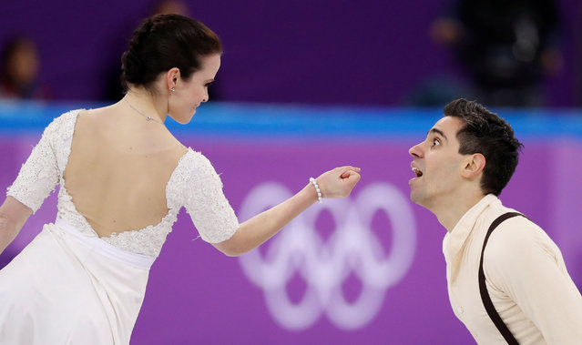 Italy' s Luca Lanotte and Italy' s Anna Cappellini compete in the figure skating team event ice dance free dance during the Pyeongchang 2018 Winter Olympic Games at the Gangneung Ice Arena in Gangneung on February 12, 2018. (Photo by Damir Sagolj/Reuters)