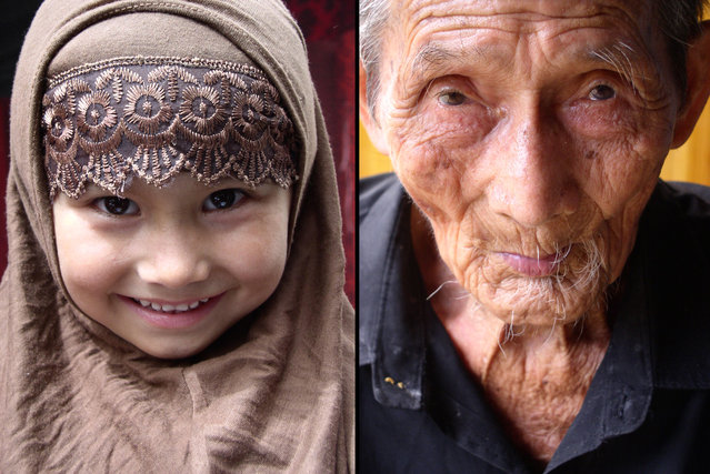 "Left: Young Uyghur girl wearing a traditional hijab headdress, Xinjiang. Right: 109-year-old man from a ""Longevity Village"" in western Guangxi, where all residents have lived till at least a hundred years of age. (Photo by Tom Carter/The Atlantic)"