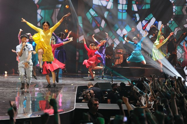 Dancer performance with Pharrell Williams on stage during the MTV EMA's 2015 at the Mediolanum Forum on October 25, 2015 in Milan, Italy. (Photo by Brian Rasic/Getty Images for MTV)