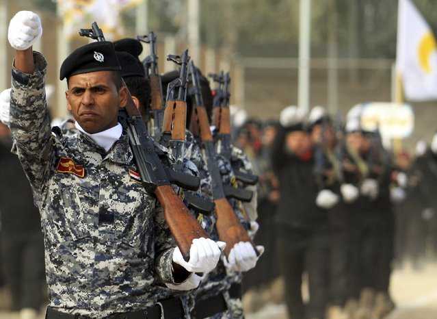 Iraqi soldiers march in a parade during the Iraqi Army Day celebration, in Kerbala, southwest of Baghdad, January 6, 2015. (Photo by Mushtaq Muhammed/Reuters)