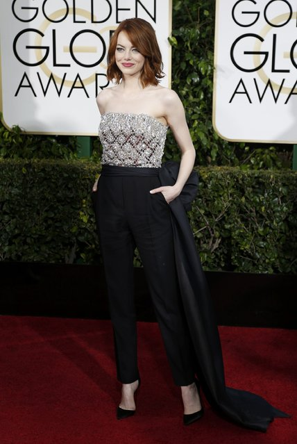 Actress Emma Stone arrives at the 72nd Golden Globe Awards in Beverly Hills, California January 11, 2015. (Photo by Mario Anzuoni/Reuters)