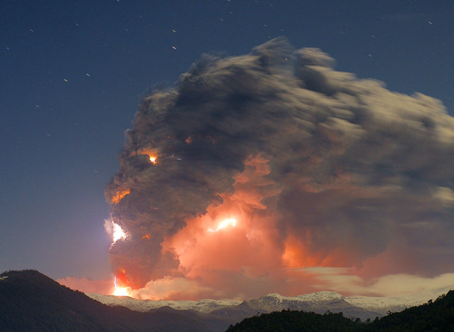 """When the earth speaking "". Picture of the eruption of the Cordon Caulle. This was taken from the Antillanca mountain. However despite the distance, the sound was awesome and was the most incredible experiences of my life with my uncle, who accompanied me that night. Location: Lakes region, Chile. (Photo and caption by Rival Gustavo/National Geographic Traveler Photo Contest)"